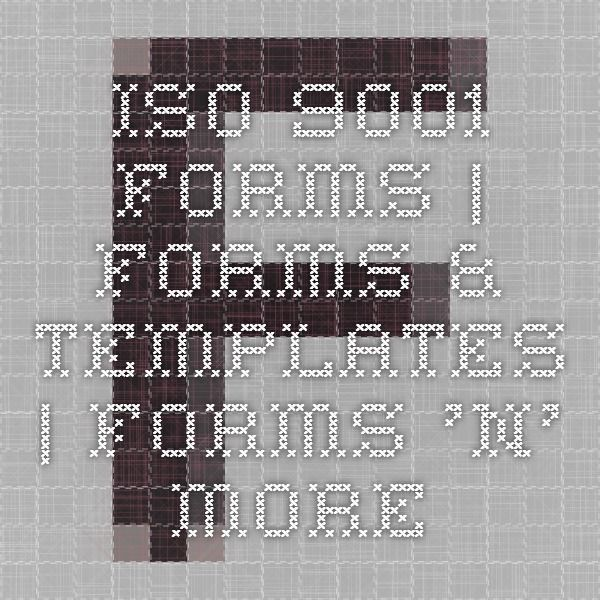 ISO 9001 Forms | Forms & Templates | Forms 'n' More