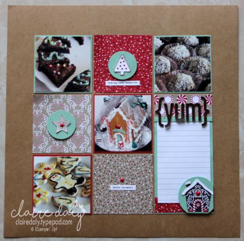 Stampin Up scrapbooking layout using Candy Cane Lane DSP from 2016 Holiday…