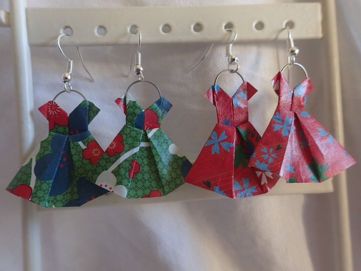 Tuto boucle d'oreille origami robe