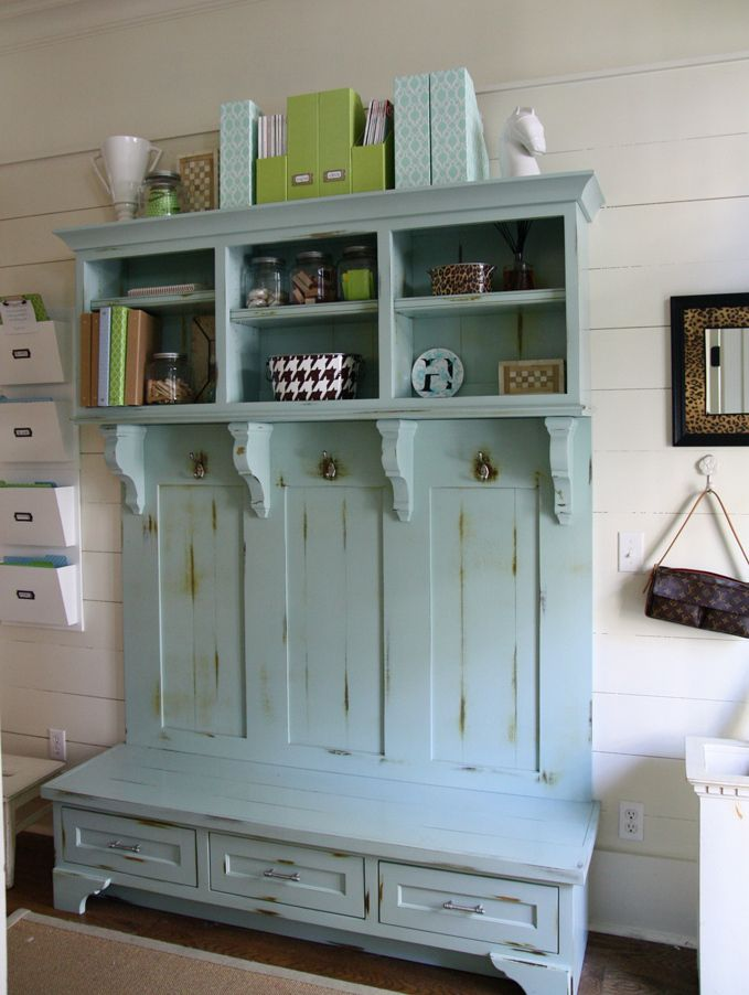 love this for a foyer or mud room: Idea, Benches, Organizations, Colors, Mudrooms, Mud Rooms, Front Doors, Laundry Rooms, Hall Trees