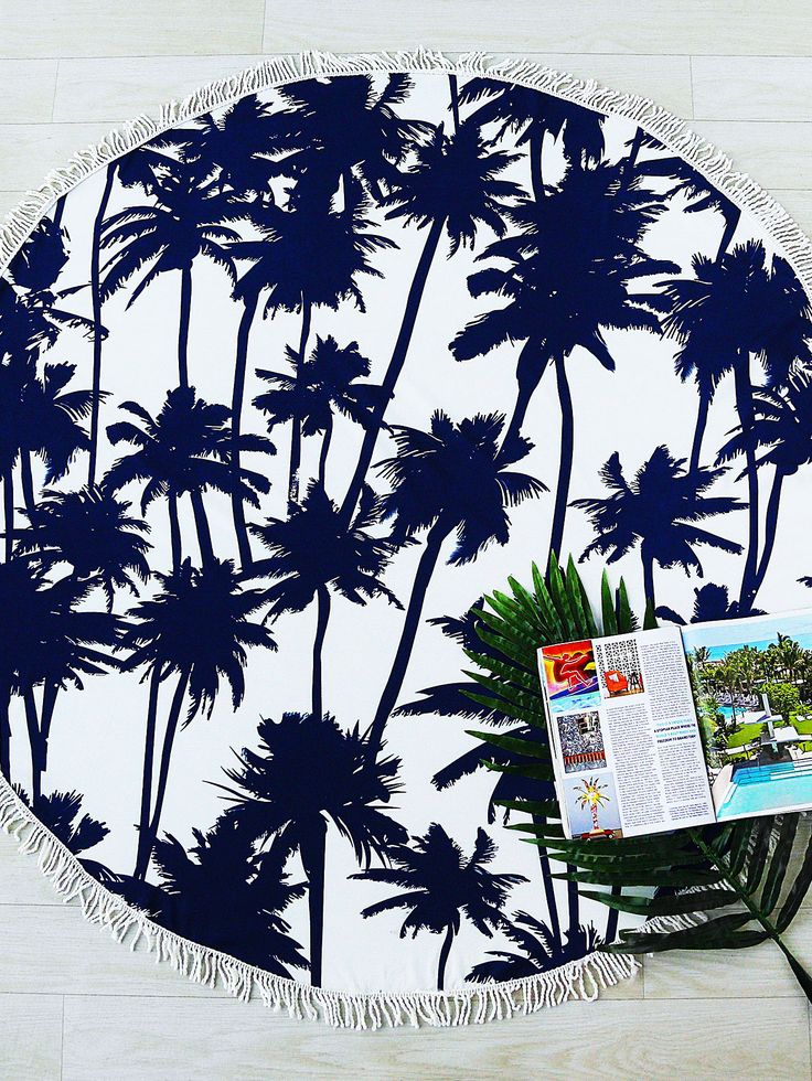 Shop Navy Coconut Tree Print Fringe Trim Round Beach Blanket online. SheIn offers Navy Coconut Tree Print Fringe Trim Round Beach Blanket & more to fit your fashionable needs.