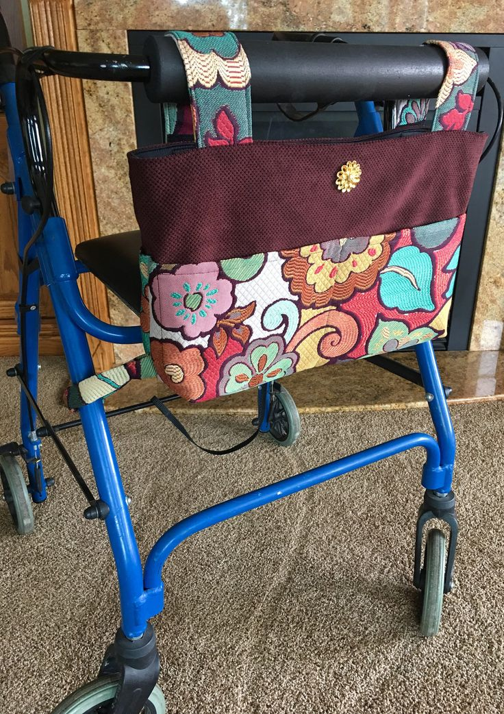 Elegant walker bag, Rollator, mobility accessory, gift for grandma, nursing home gift, assisted living gift, Zimmer frame, walker caddy by OnTheMoveByMarlys on Etsy