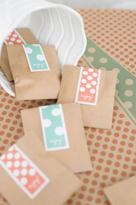 Michaels.com Wedding Department: Playful Dot Favors Customize your favor with polka-dot flavor. A simple kraft envelope is transformed into a fun and fanciful wedding treat favor. Printable label tags allow you to create your color of flavorful fun. Courtesy of Gartner Studios�