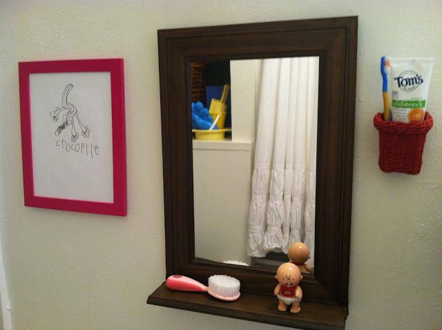 Ot & Et: project-per-month project - kid height mirror and toothbrush station in the bathroom