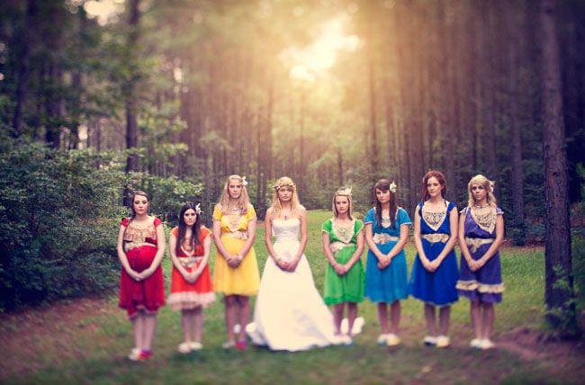 I dont like the dresses... but the rainbow Idea is kind of fun :): Wedding Inspiration, Rainbow Bridesmaids, Color, Wedding Ideas, Rainbows, Rainbow Wedding, Rainbow Bridesmaid Dresses, Weddingideas