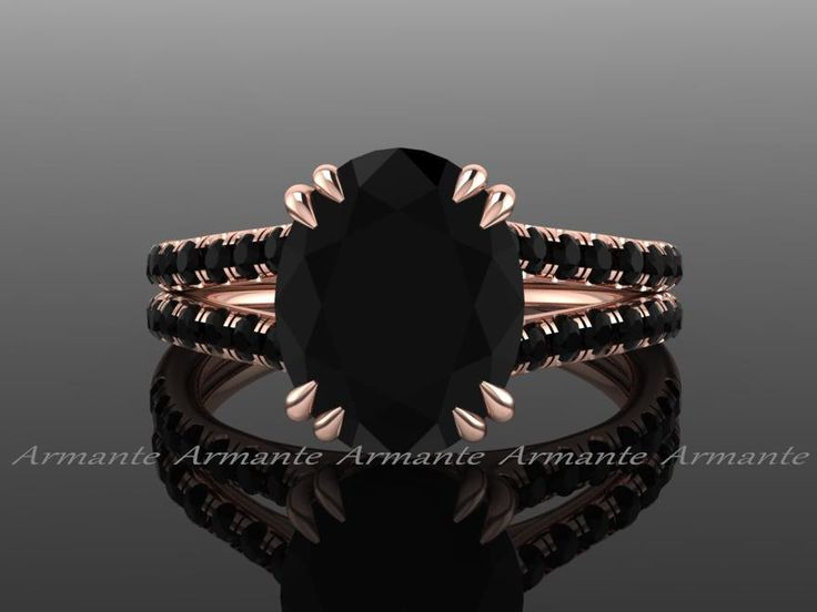 Oval 3.00 Carat Black Diamond Engagement Ring, Split Shank 18K Rose Gold Natural…