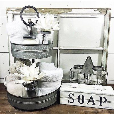 Farmhouse-Two-Tiered-Galvanized-Serving-Tray-Pottery-Barn-Style