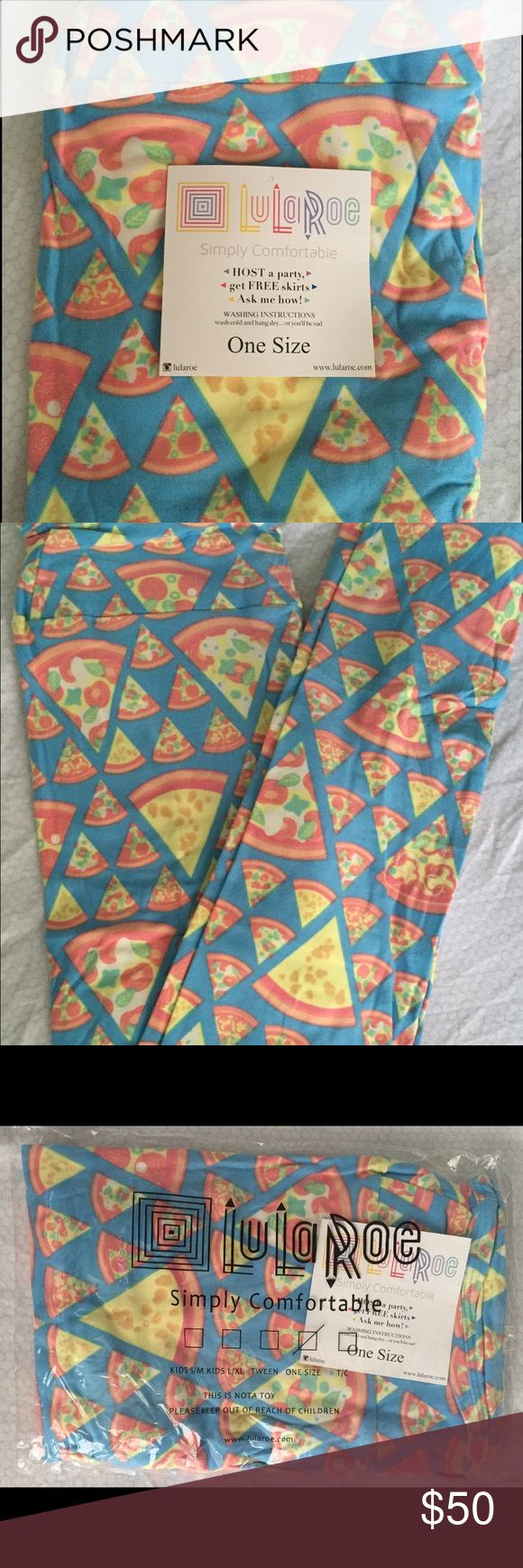 OS LuLaRoe Pizza Unicorn Leggings BNWT, HTF One Size LuLaRoe Pizza Leggings! BNWT! HTF! *UNICORN* LuLaRoe Pants Leggings
