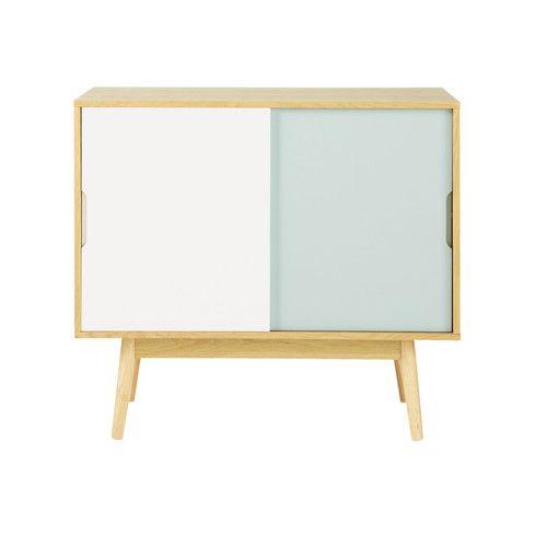 Credenza bianca e blu vintage in legno L 90 cm