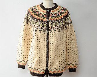 Vintage Norwegian Hand Knit Wool Sweater