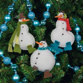 Simple Snowmen Christmas Ornaments - Felt Applique Kit