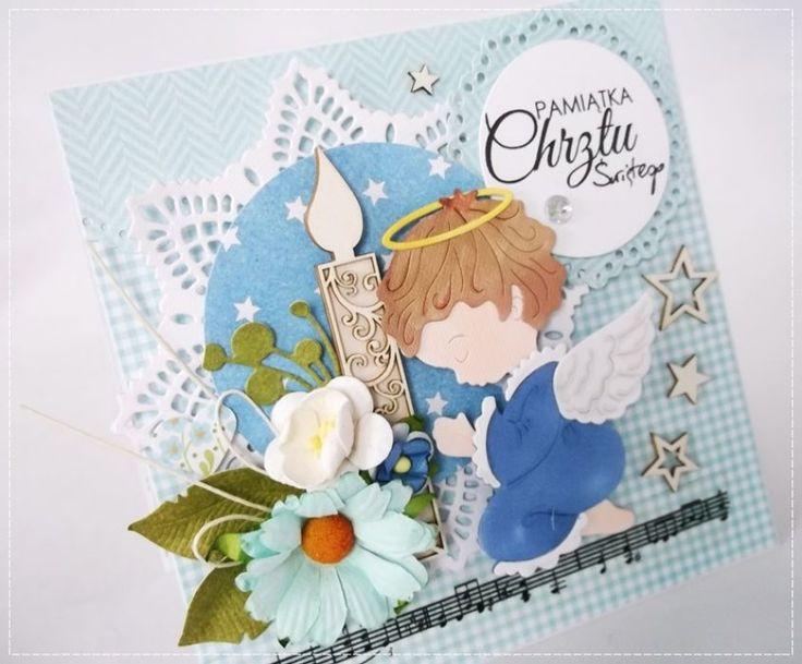 niebieski Aniołek - kartka na chrzest – Kartki na chrzest - kolor: szaroniebieski, błękitny, niebieski, wymiary: 13x13cm – Artillo