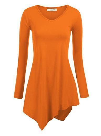 Women's Long Shirt - Asymmetrical Hemline / Long Sleeves