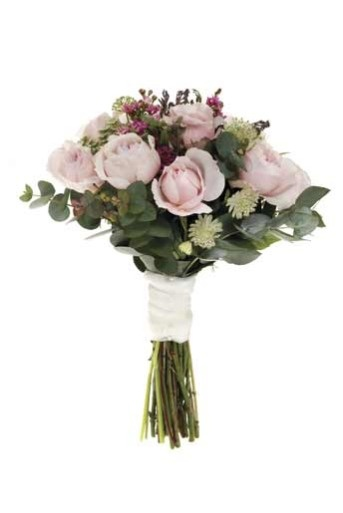 Very pale pink - hand-tied bouquet of 'Rosalind' roses, eucalyptus, acacia, ammi and waxflowers, David Austin Roses