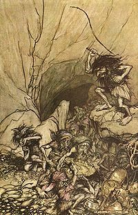 """Aubrey has origins in French, English and German. It is the Norman French form of the Germanic name Alberich, and it was brought to England by the Normans.  Alberich is a dwarf, who guards the treasure of the Nibelungen, but is overcome by Siegfried. * Oberon is the French translation of Alberich (used for the name of the """"King of Fairies"""" in French and English texts)."""
