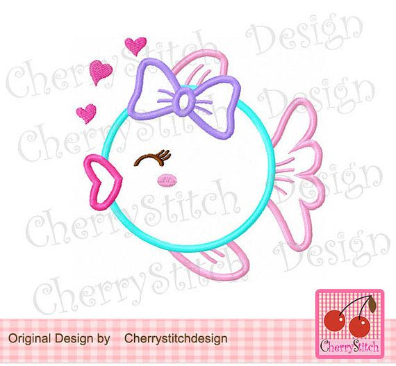 Heart fish with bow Digital Applique 4x4 5x7 by CherryStitchDesign