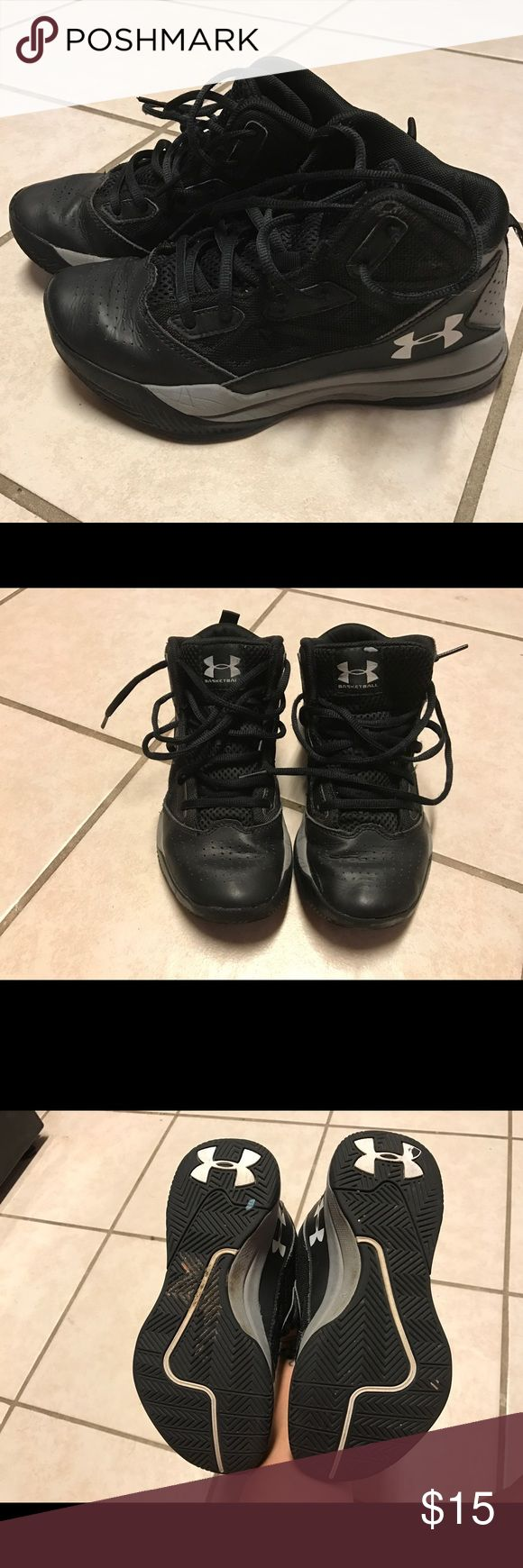 Girls' Under Armour High Top Sneakers Good used condition. Black and gray. Small flaw shown in last pic. Under Armour Shoes Sneakers