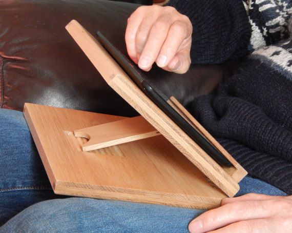 Oak Lap Desk Adjustable Tablet Stand Lap Stand by NeatNicheinWood