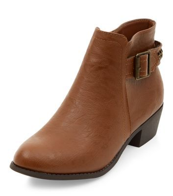 Tan Buckle Side Ankle Boots