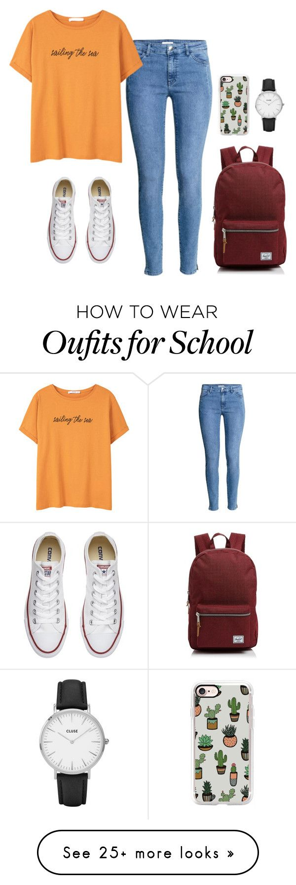 """""""Converse Chuck Taylor All Star - 16 #School"""" by inlovewithtay on Polyvore featuring H&M, MANGO, Converse, Casetify, Herschel Supply Co., CLUSE, converse and allstar"""