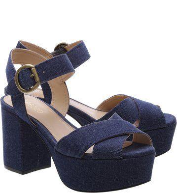 Sandália Plataforma Jeans Azul