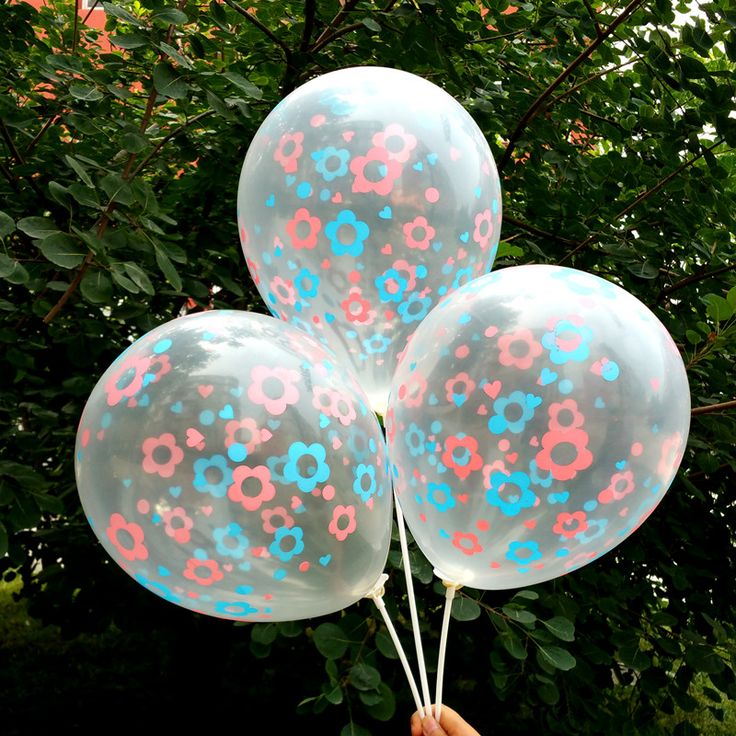 NEW 12inch 30pcs/lot  Transparent  balloon pink blue flowers printing balloon   romantic wedding party supplies free shipping
