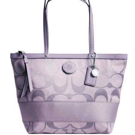 New Authentic COACH Signature Stripe Lilac Light Purple Tote Bag 19046 w/ COACH Receipt