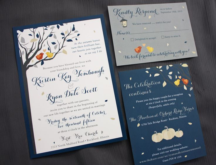 Navy, Gray & Champagne Fall Tree with Orange & Yellow Love Birds, Cream Pumpkins & Lantern Wedding Invitations