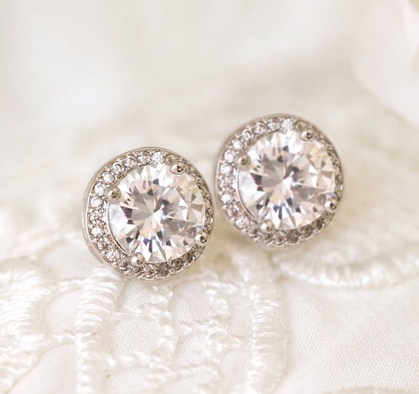 Wedding Stud Halo Earrings Minimalist Bridal Studs Minimal Cubic Zirconia Crystal White Gold Wedding Earrings Crystal Wedding Studs Tiny