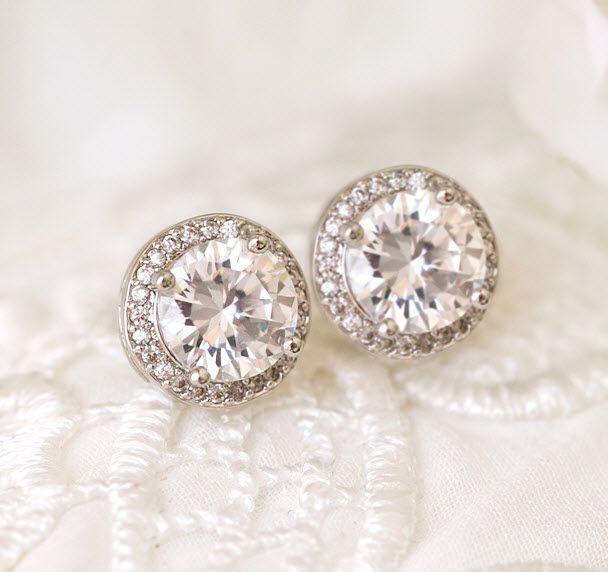 Wedding Stud Halo Earrings Minimalist Bridal Studs Minimal Cubic Zirconia Crystal White Gold Wedding Earrings Crystal Wedding Studs Tiny