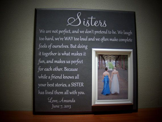 Picture Frame Gift for Sisters Wedding Thank by YourPictureStory