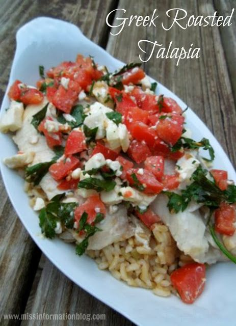 This beautiful Greek Roasted Talapia is one of my favorite seafood recipes. The salty feta, tangy tomatoes and garlic give this inexpensive fish a ton of flavor/ Miss Information Blog / #Seafood #fishrecipes #Greek