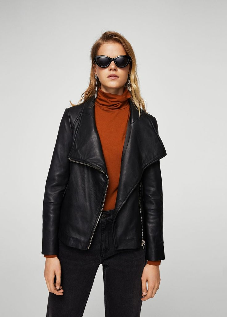 Lapels leather jacket - Woman | MANGO South Africa