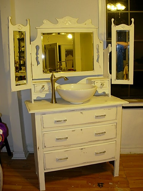 Antique Dresser Made Into Sink Cabinet Diy Bathroom