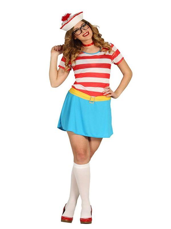 el disfraz de wally marinera mujer incluye gorro vestido y cinturn en