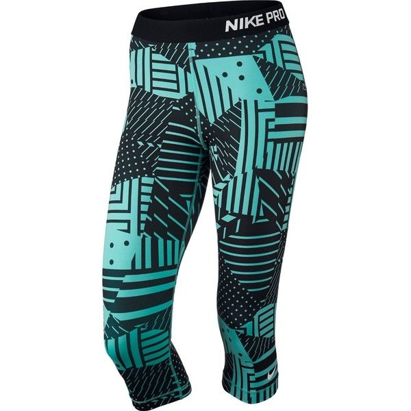Nike Women's Pro Patchwork Capri XL Blue/Black at Amazon Women's... ($40) ❤ liked on Polyvore featuring nike