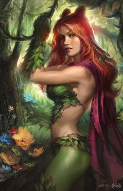 Galaxy Fantasy: Hiedra Venenosa y Catwoman vistas a través del arte de Josh Burns