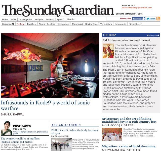 Sunday-Guardian, Artbeat homepage