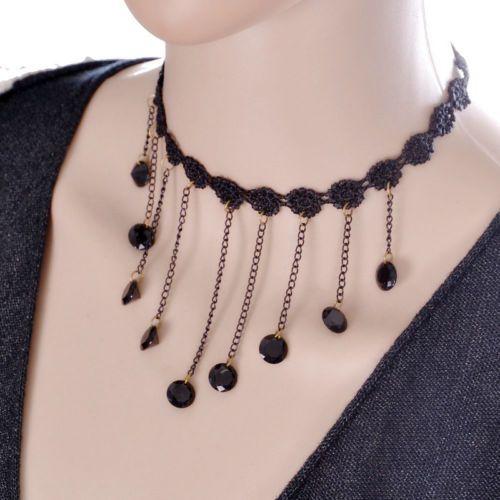 Gothic-Black-Boho-Retro-Tattoo-Lace-Flower-Collar-Choker-Tassel-Pendant-Necklace
