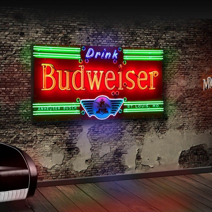 Extremely rare six foot wide 1930's Budweiser neon sign
