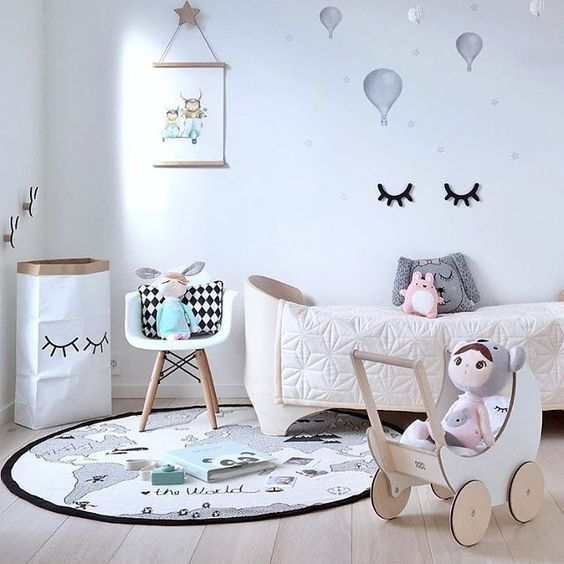 Kid's room inspiration | OYOY The World rug and Ooh Noo Toy Pram are all available at www.istome.co.uk