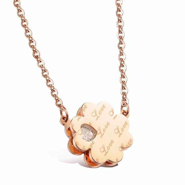 Розового золота ожерелья для женщин из нержавеющей стали ожерелье кулон ж / кристалл ювелирные изделия регулируемая женщины ожерелье комплект GX988