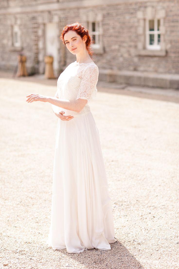 Two Piece Wedding dress, Lace Wedding Top, Red Wedding Hair