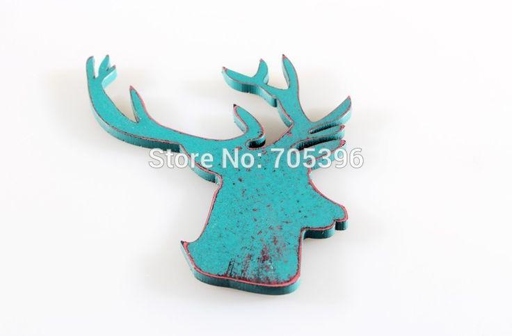 Ретро деревянные магниты на холодильник ; олень ; олени ; голова лося формы…