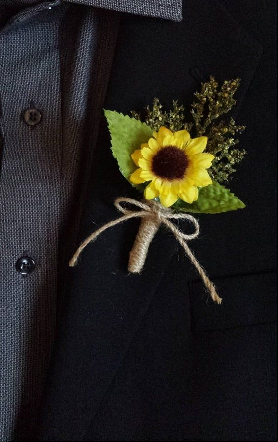 Wedding Boutonniere (Boutineer) – Rustic Sunflower with Mixed Greenery and Burlap Twine