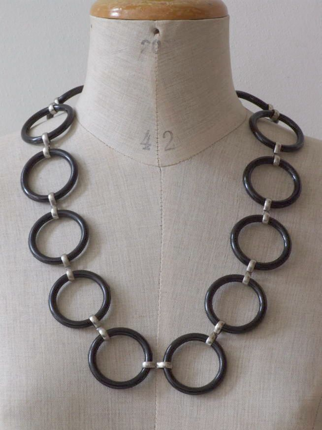Vintage 60's MOD ketting ringen zwart - Sieraden - Vintage
