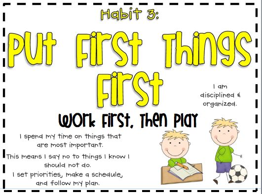 putting things first essay The third habit continues this example by showing us that the next step is to run  the program, to 'put first things first' we can't just come up with a plan – we.