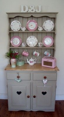 Shabby Chic Hand Painted Pine Country Farmhouse Kitchen Dresser