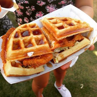 This chicken and waffle sandwich. | Here's All The Delicious Coachella Food That Will Give Your Tastebuds FOMO