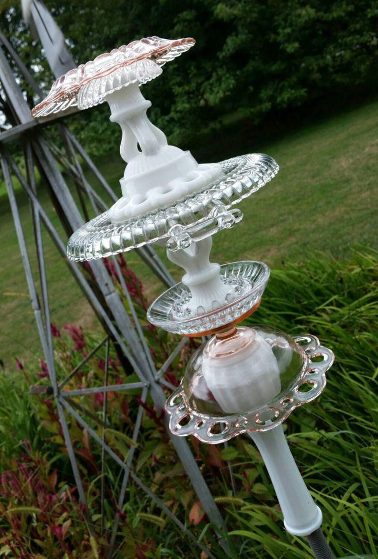 Ooak upcycled garden totem vintage glass suncatcher yard for Upcycled yard decor